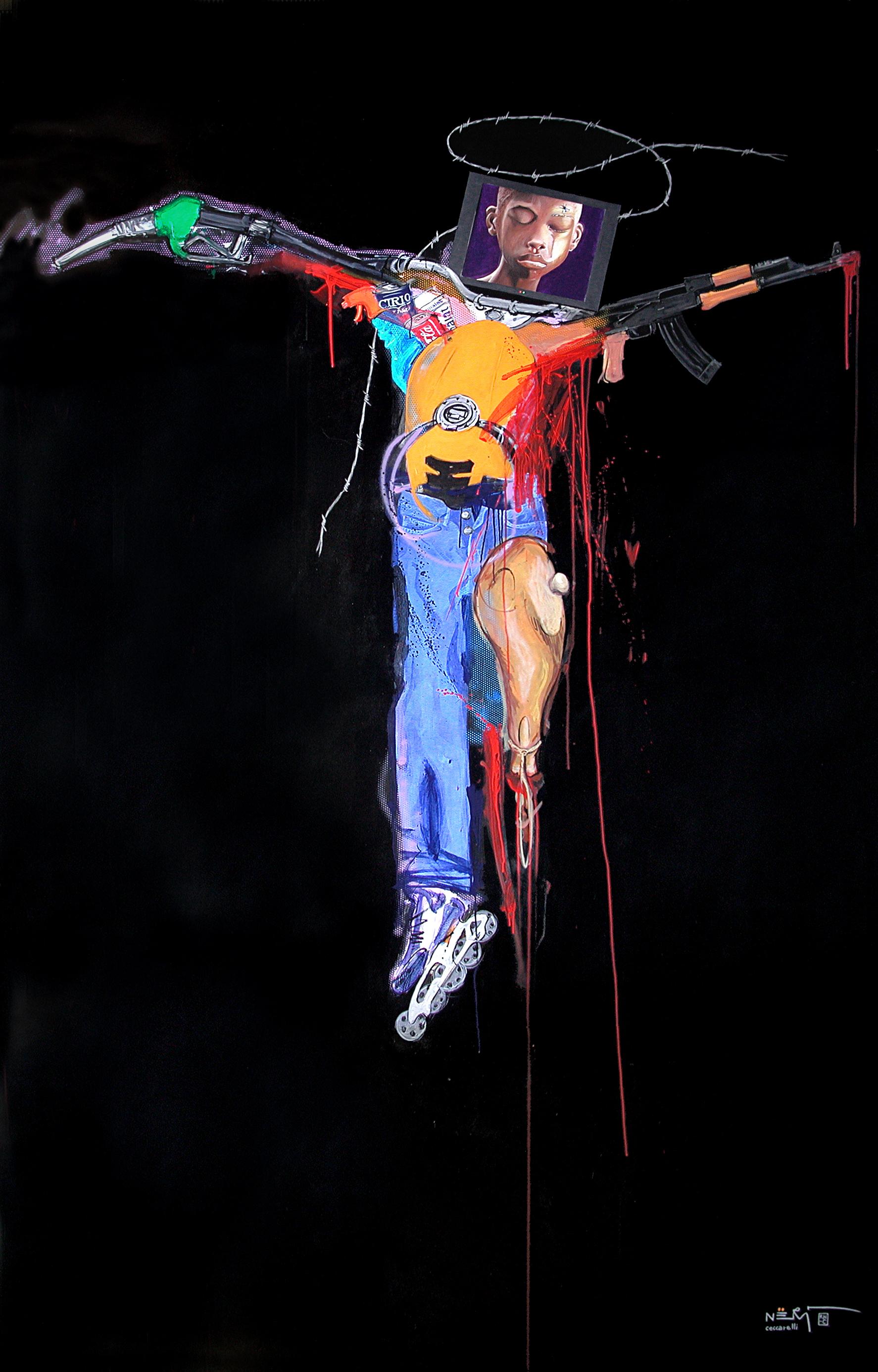 NERI CECCARELLI Crocifissione continua 2008 Acrilico su tela 200x300cm