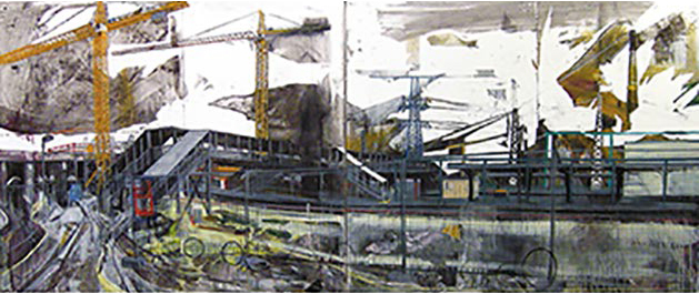 ANNA CAPOLUPO Kreuz (Croce) 2014 Tecnica mista su carta intelata 100x240cm Coutesy: Galleria Burning Giraffe, Torino